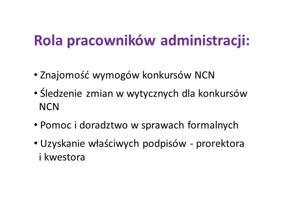 Rola pracowników administracji: Znajomość wymogów konkursów NCN Śledzenie zmian w wytycznych dla konkursów NCN Pomoc i doradztwo w sprawach formalnych Uzyskanie właściwych podpisów - prorektora i kwestora