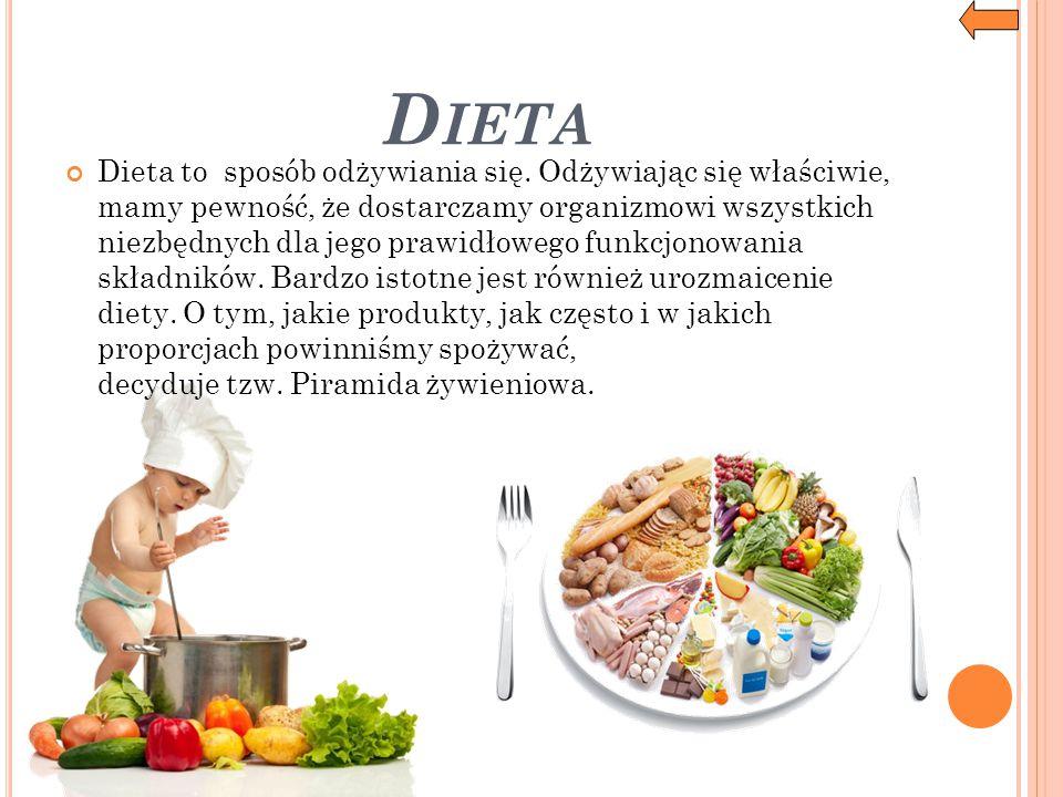 D IETA Dieta to sposób odżywiania się. Odżywiając się właściwie, mamy pewność, że dostarczamy organizmowi wszystkich niezbędnych dla jego prawidłowego
