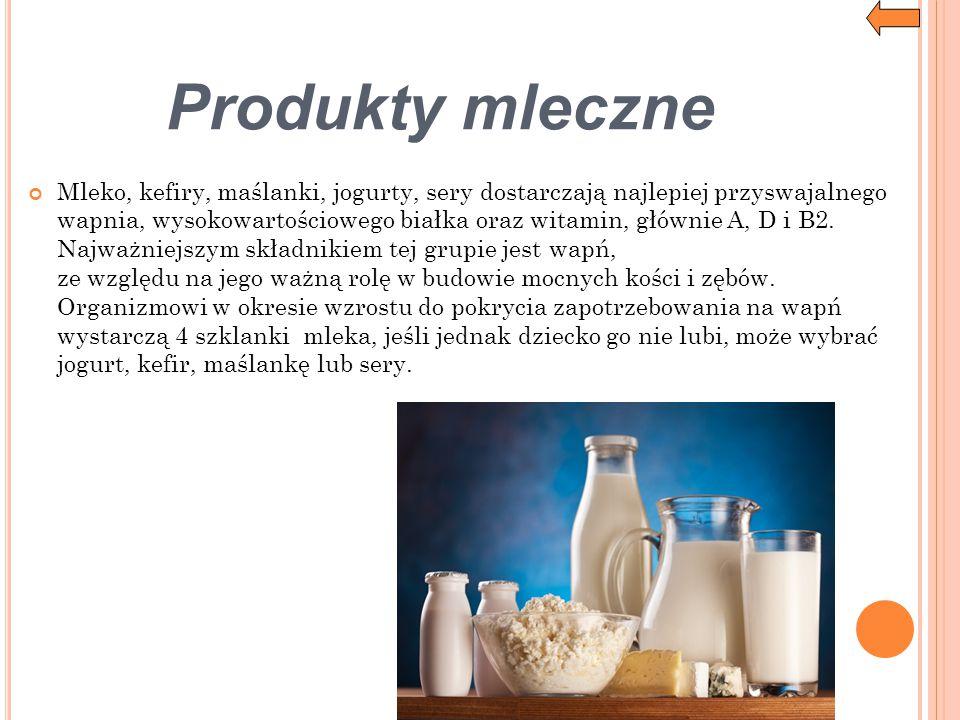 Produkty mleczne Mleko, kefiry, maślanki, jogurty, sery dostarczają najlepiej przyswajalnego wapnia, wysokowartościowego białka oraz witamin, głównie
