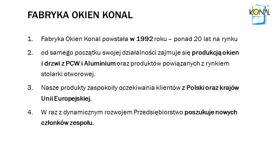 FABRYKA OKIEN KONAL 1.Fabryka Okien Konal powstała w 1992 roku – ponad 20 lat na rynku 2.od samego początku swojej działalności zajmuje się produkcją okien i drzwi z PCW i Aluminium oraz produktów powiązanych z rynkiem stolarki otworowej.