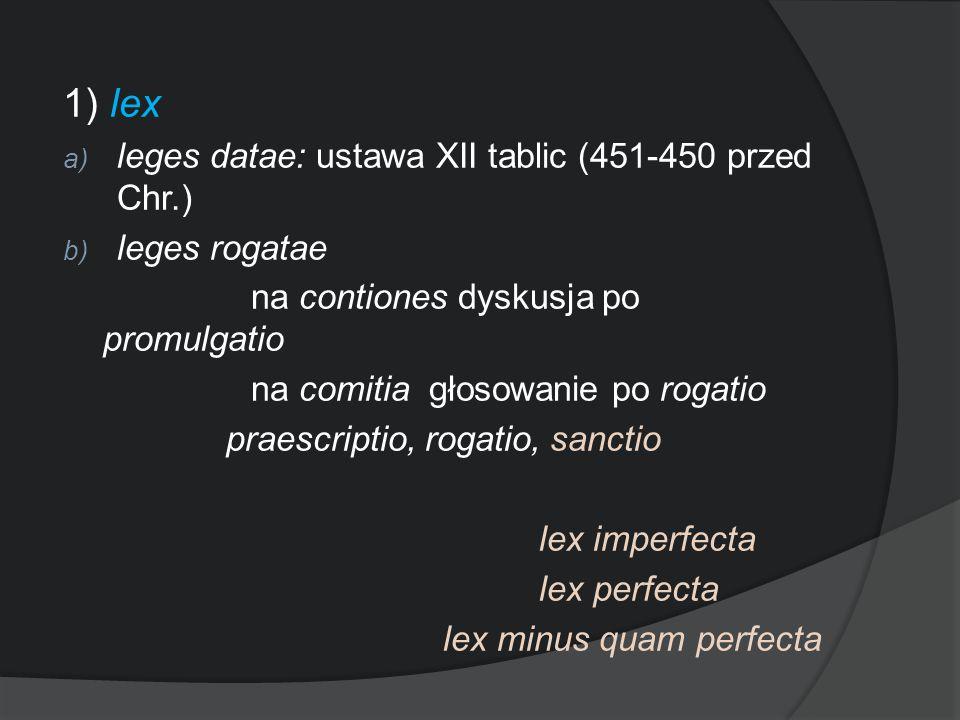 1) lex a) leges datae: ustawa XII tablic (451-450 przed Chr.) b) leges rogatae na contiones dyskusja po promulgatio na comitia głosowanie po rogatio p