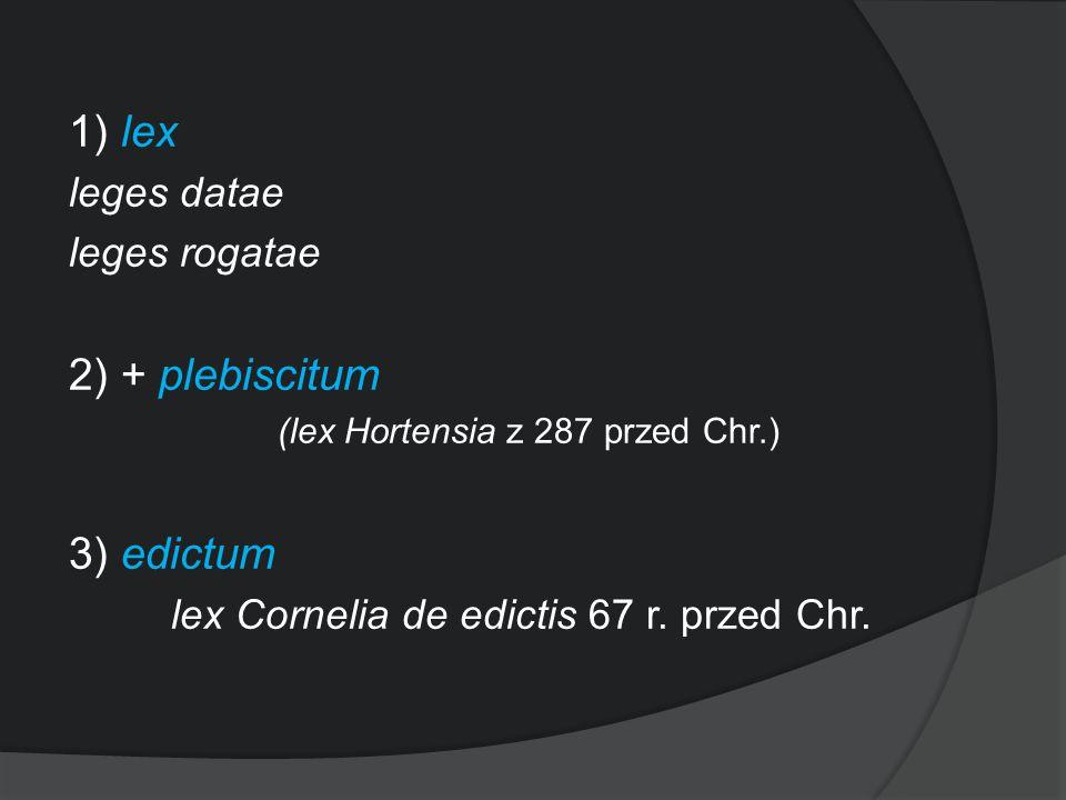1) lex leges datae leges rogatae 2) + plebiscitum (lex Hortensia z 287 przed Chr.) 3) edictum lex Cornelia de edictis 67 r. przed Chr.