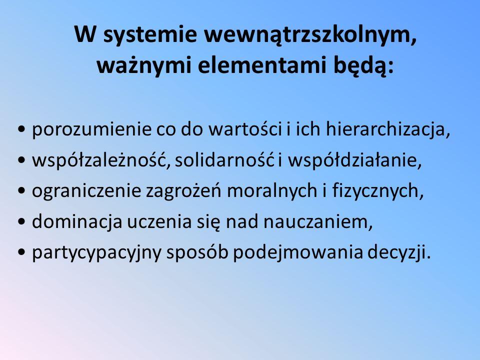 W systemie wewnątrzszkolnym, ważnymi elementami będą: porozumienie co do wartości i ich hierarchizacja, współzależność, solidarność i współdziałanie, ograniczenie zagrożeń moralnych i fizycznych, dominacja uczenia się nad nauczaniem, partycypacyjny sposób podejmowania decyzji.