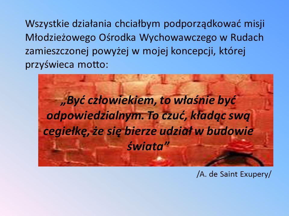 CELE OPERACYJNE: 1.Realizacja Programu Wychowawczego MOW w Rudach.