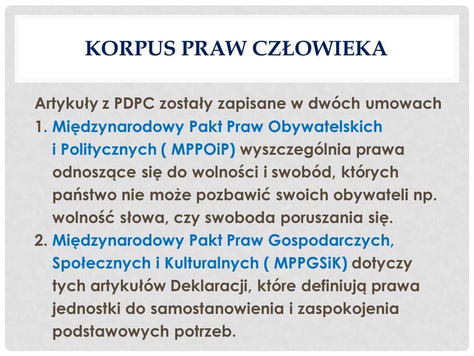KORPUS PRAW CZŁOWIEKA Artykuły z PDPC zostały zapisane w dwóch umowach 1.