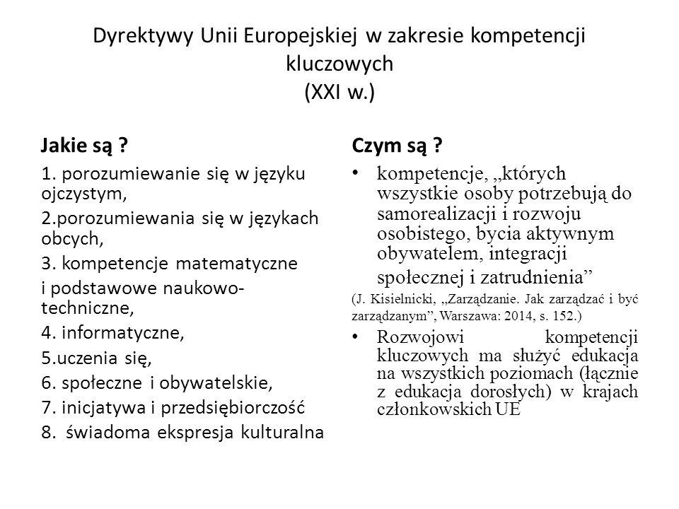 Dyrektywy Unii Europejskiej w zakresie kompetencji kluczowych (XXI w.) Jakie są .
