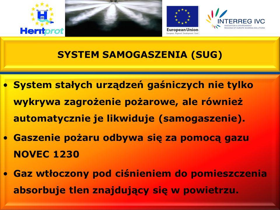 SYSTEM SAMOGASZENIA (SUG) System stałych urządzeń gaśniczych nie tylko wykrywa zagrożenie pożarowe, ale również automatycznie je likwiduje (samogaszenie).