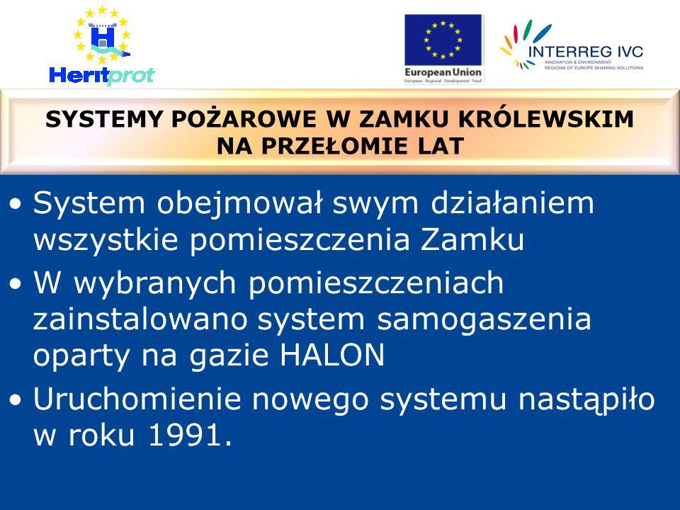 System obejmował swym działaniem wszystkie pomieszczenia Zamku W wybranych pomieszczeniach zainstalowano system samogaszenia oparty na gazie HALON Uruchomienie nowego systemu nastąpiło w roku 1991.