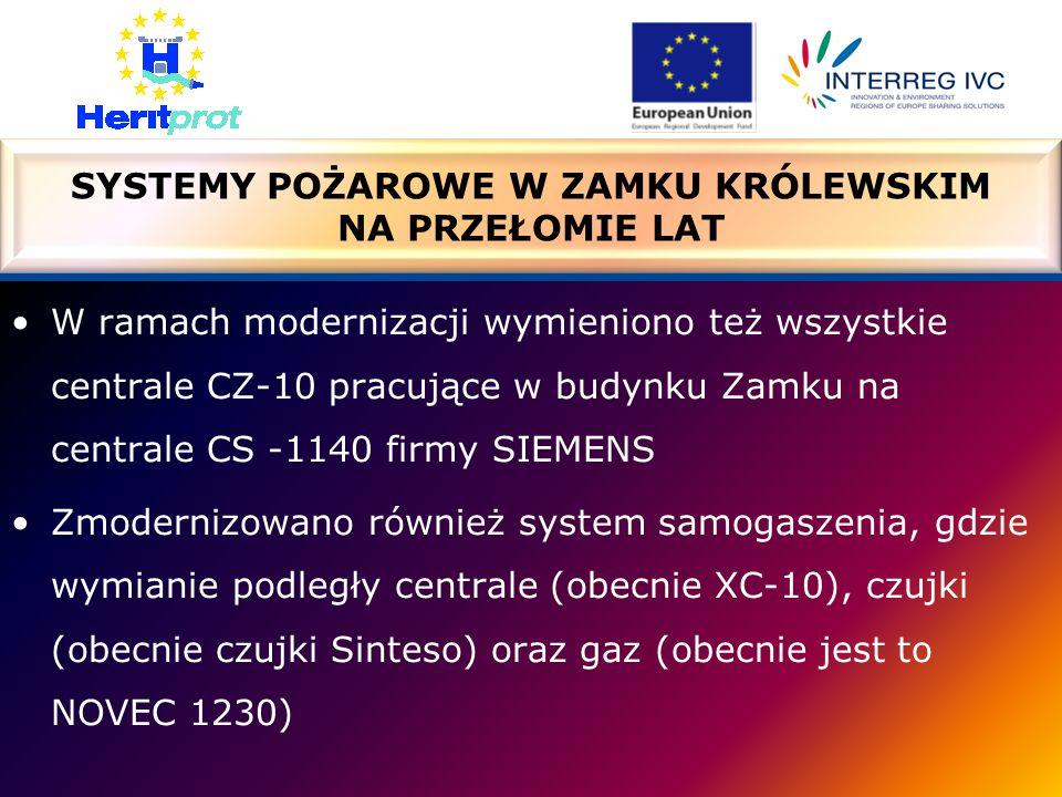 W ramach modernizacji wymieniono też wszystkie centrale CZ-10 pracujące w budynku Zamku na centrale CS -1140 firmy SIEMENS Zmodernizowano również system samogaszenia, gdzie wymianie podległy centrale (obecnie XC-10), czujki (obecnie czujki Sinteso) oraz gaz (obecnie jest to NOVEC 1230) SYSTEMY POŻAROWE W ZAMKU KRÓLEWSKIM NA PRZEŁOMIE LAT