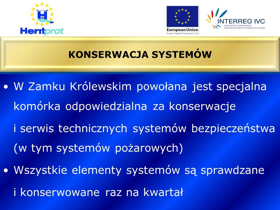 W Zamku Królewskim powołana jest specjalna komórka odpowiedzialna za konserwacje i serwis technicznych systemów bezpieczeństwa (w tym systemów pożarowych) Wszystkie elementy systemów są sprawdzane i konserwowane raz na kwartał KONSERWACJA SYSTEMÓW