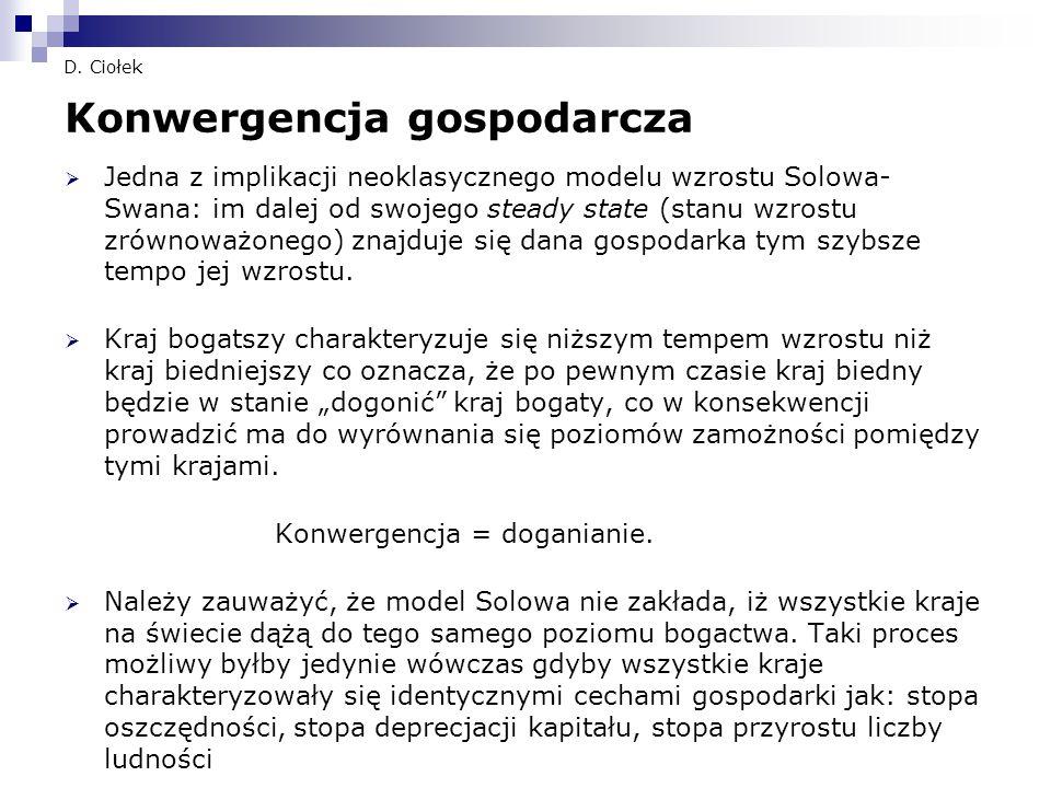 D. Ciołek Konwergencja gospodarcza  Jedna z implikacji neoklasycznego modelu wzrostu Solowa- Swana: im dalej od swojego steady state (stanu wzrostu z
