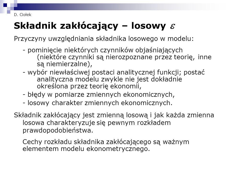 D. Ciołek Składnik zakłócający – losowy  Przyczyny uwzględniania składnika losowego w modelu: - pominięcie niektórych czynników objaśniających (niekt
