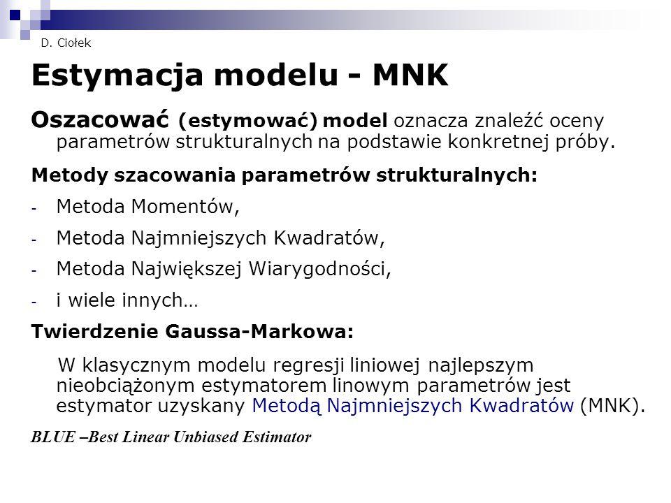 D. Ciołek Estymacja modelu - MNK Oszacować (estymować) model oznacza znaleźć oceny parametrów strukturalnych na podstawie konkretnej próby. Metody sza