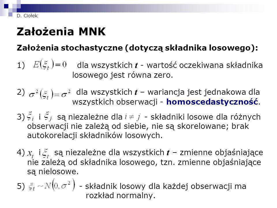 D. Ciołek Założenia MNK Założenia stochastyczne (dotyczą składnika losowego): 1) dla wszystkich t - wartość oczekiwana składnika losowego jest równa z