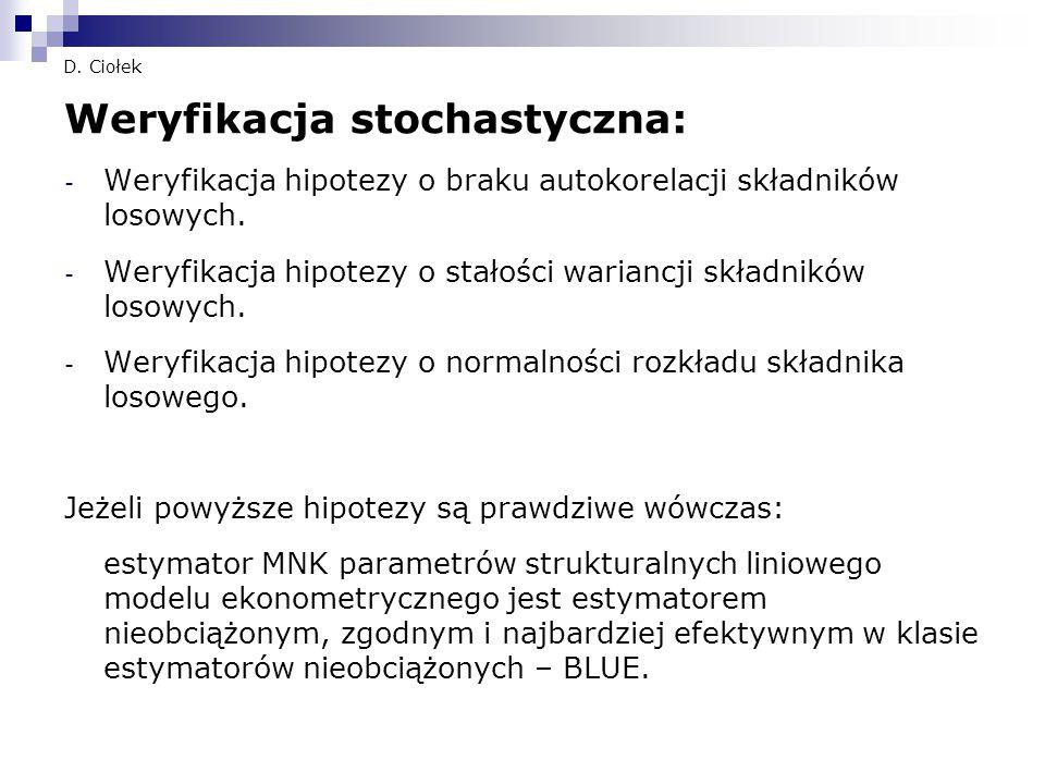 D. Ciołek Weryfikacja stochastyczna: - Weryfikacja hipotezy o braku autokorelacji składników losowych. - Weryfikacja hipotezy o stałości wariancji skł