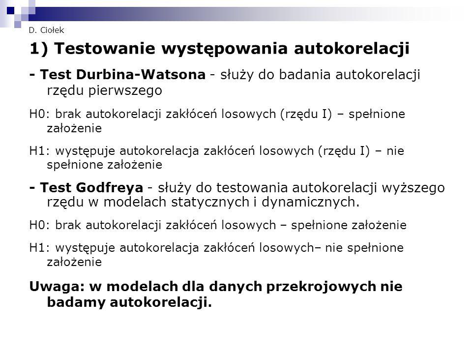 D. Ciołek 1) Testowanie występowania autokorelacji - Test Durbina-Watsona - służy do badania autokorelacji rzędu pierwszego H0: brak autokorelacji zak