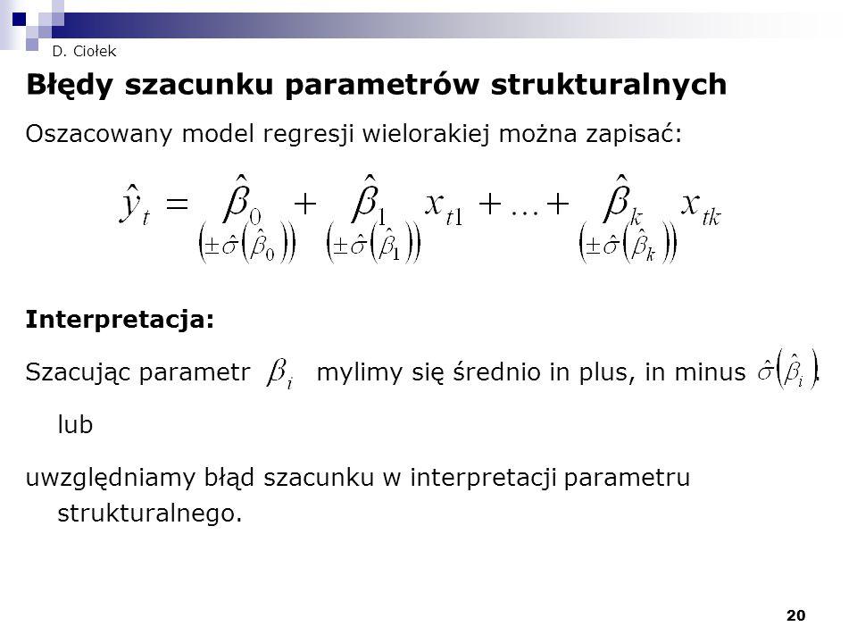 20 D. Ciołek Błędy szacunku parametrów strukturalnych Oszacowany model regresji wielorakiej można zapisać: Interpretacja: Szacując parametr mylimy się