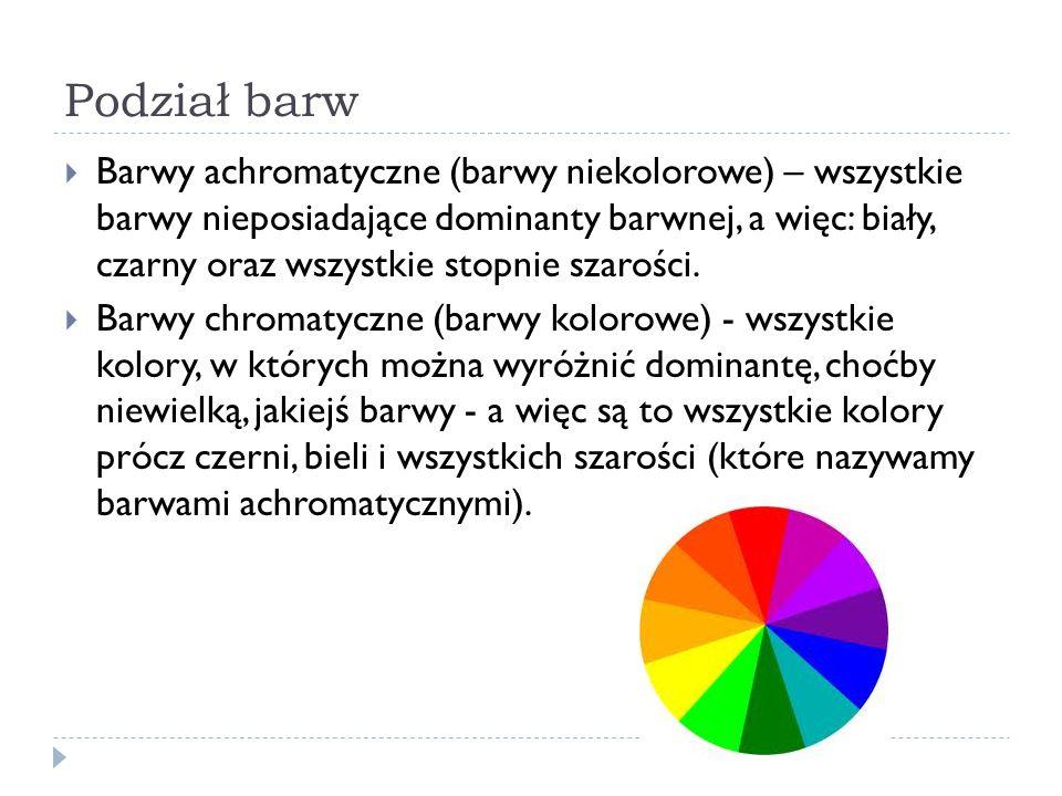 Podział barw  Barwy podstawowe – minimalne zestawy kolorów, które łączone umożliwiają uzyskanie dowolnych kolorów z podanego zakresu.