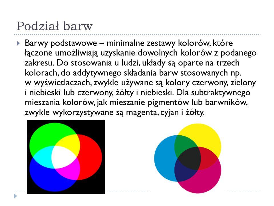 Podział barw  Barwy podstawowe – minimalne zestawy kolorów, które łączone umożliwiają uzyskanie dowolnych kolorów z podanego zakresu. Do stosowania u