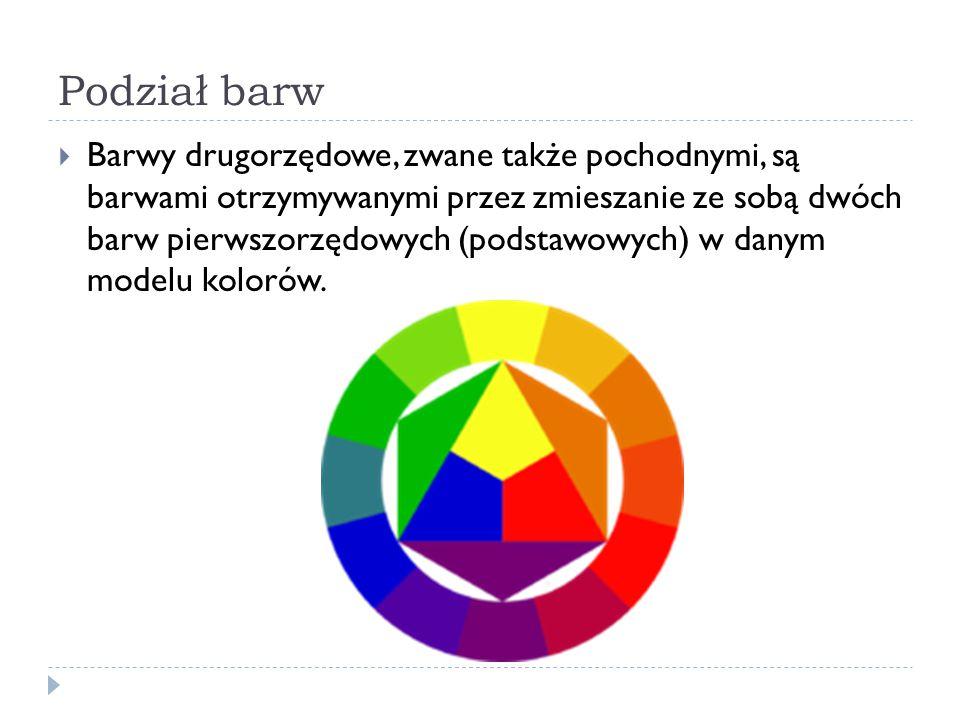 Podział barw  Barwy drugorzędowe, zwane także pochodnymi, są barwami otrzymywanymi przez zmieszanie ze sobą dwóch barw pierwszorzędowych (podstawowyc
