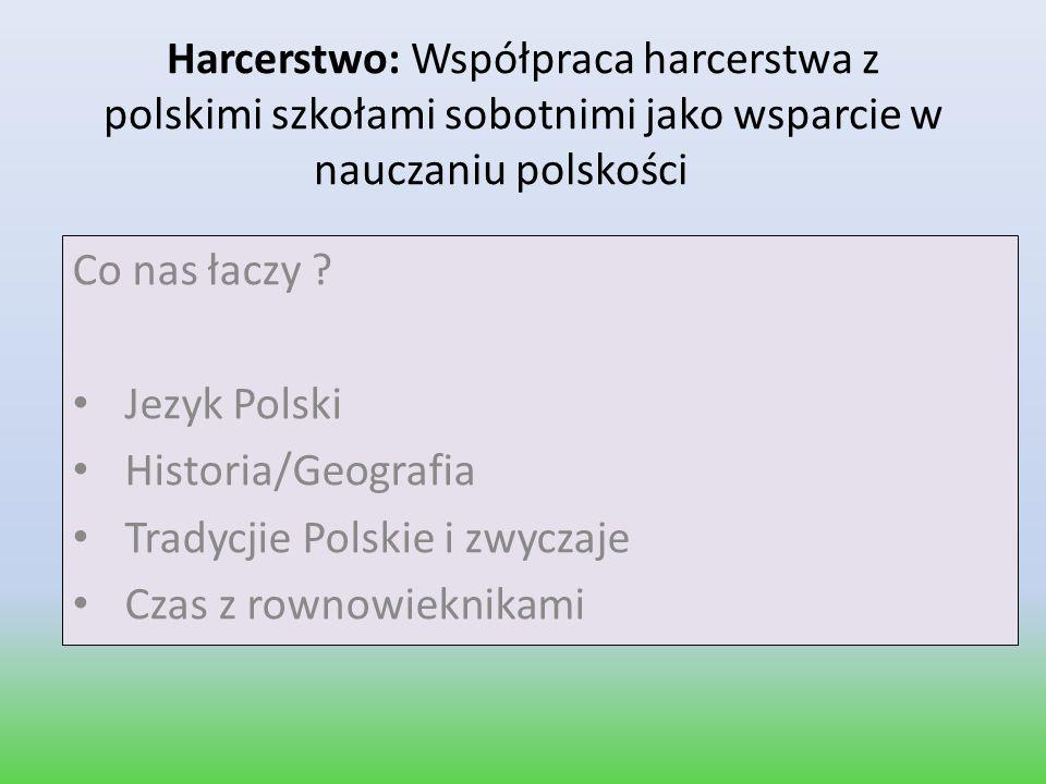 Harcerstwo: Współpraca harcerstwa z polskimi szkołami sobotnimi jako wsparcie w nauczaniu polskości Co nas łaczy ? Jezyk Polski Historia/Geografia Tra