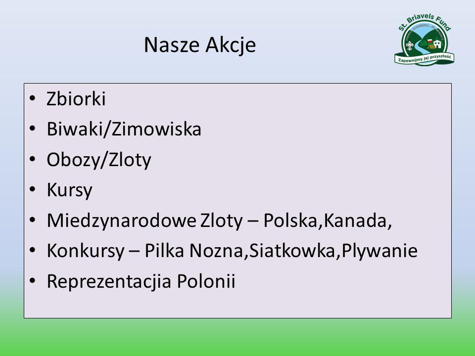 Nasze Akcje Zbiorki Biwaki/Zimowiska Obozy/Zloty Kursy Miedzynarodowe Zloty – Polska,Kanada, Konkursy – Pilka Nozna,Siatkowka,Plywanie Reprezentacjia