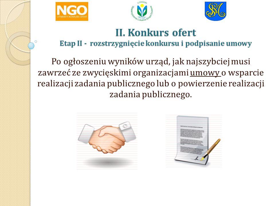 II. Konkurs ofert Etap II - rozstrzygnięcie konkursu i podpisanie umowy II.