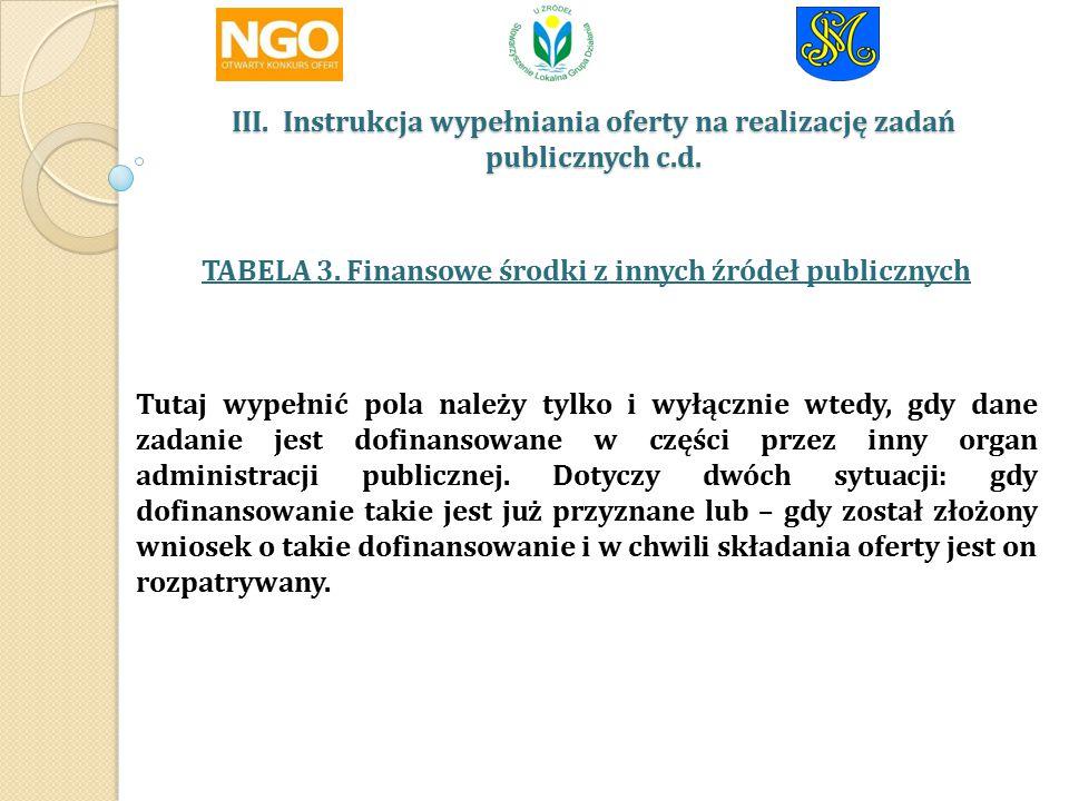 III.Instrukcja wypełniania oferty na realizację zadań publicznych c.d.