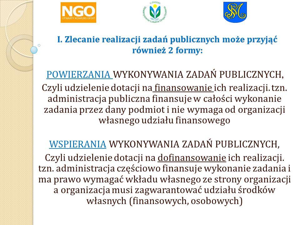 I.Zlecanie realizacji zadań publicznych może przyjąć również 2 formy: I.
