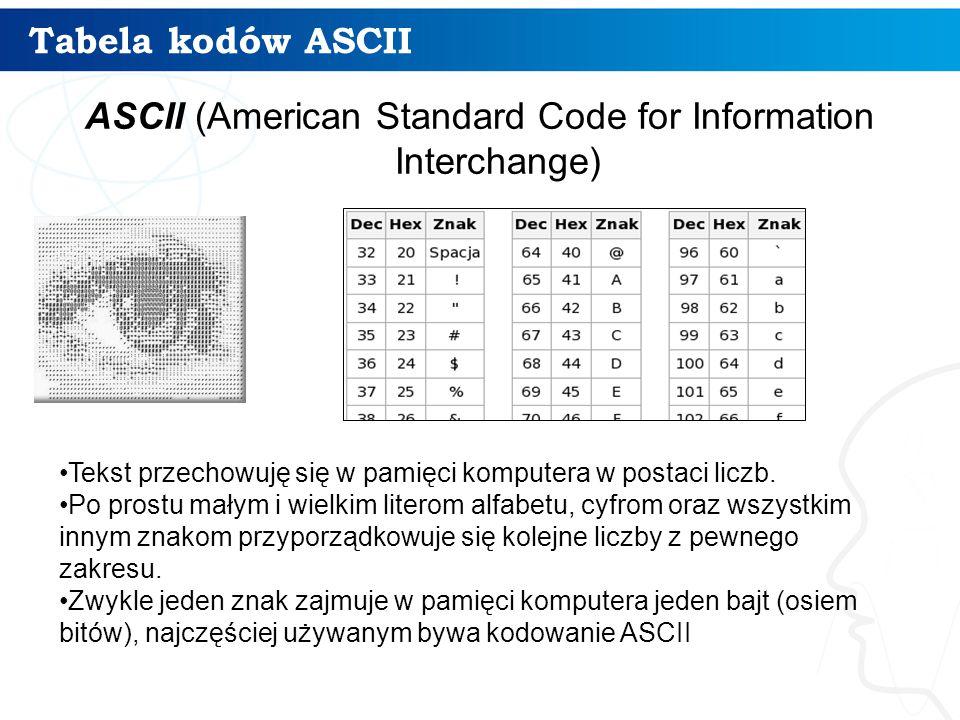 Tabela kodów ASCII ASCII (American Standard Code for Information Interchange) Tekst przechowuję się w pamięci komputera w postaci liczb.