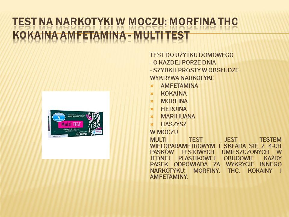 TEST DO UŻYTKU DOMOWEGO - O KAŻDEJ PORZE DNIA - SZYBKI I PROSTY W OBSŁUDZE WYKRYWA NARKOTYKI:  AMFETAMINA  KOKAINA  MORFINA  HEROINA  MARIHUANA 