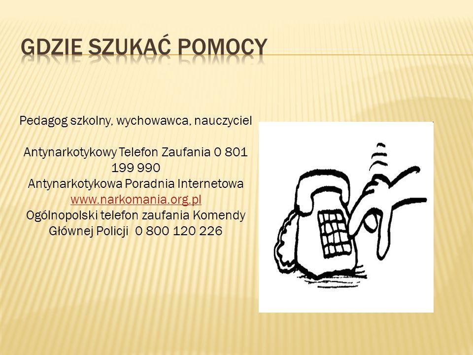 Pedagog szkolny, wychowawca, nauczyciel Antynarkotykowy Telefon Zaufania 0 801 199 990 Antynarkotykowa Poradnia Internetowa www.narkomania.org.pl www.