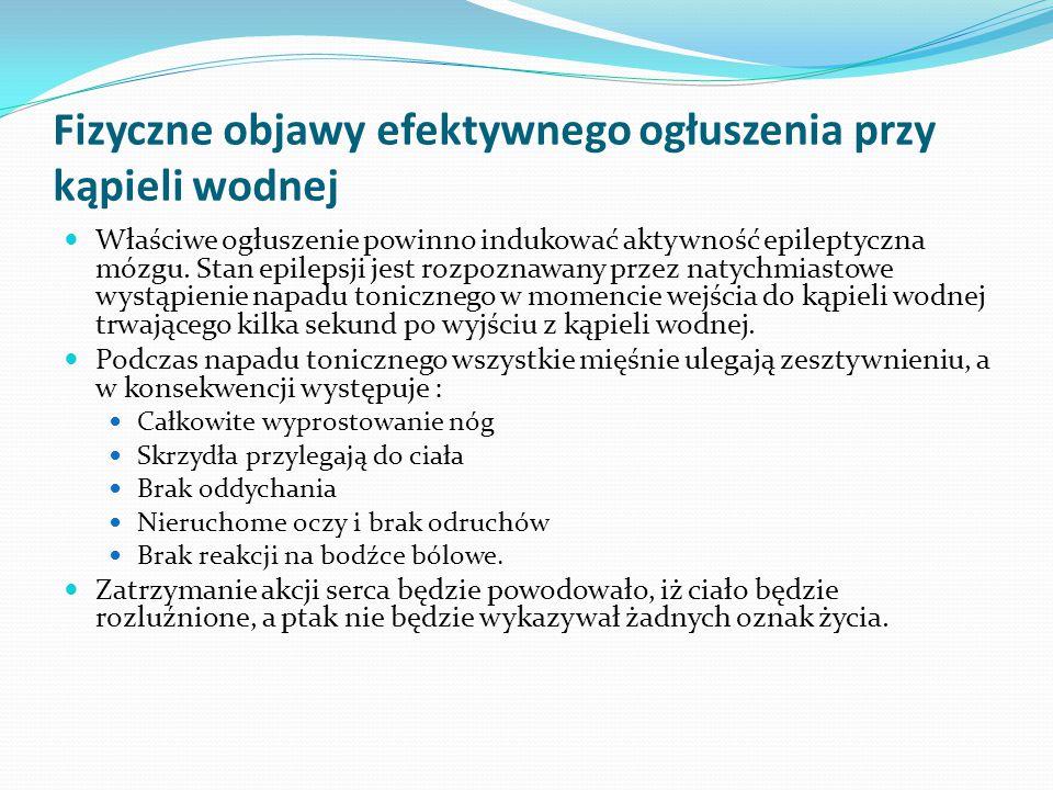 Fizyczne objawy efektywnego ogłuszenia przy kąpieli wodnej Właściwe ogłuszenie powinno indukować aktywność epileptyczna mózgu. Stan epilepsji jest roz