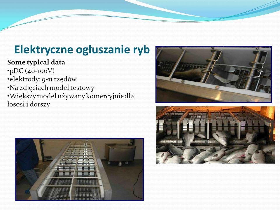 Elektryczne ogłuszanie ryb Some typical data pDC (40-100V) elektrody: 9-11 rzędów Na zdjęciach model testowy Większy model używany komercyjnie dla łos
