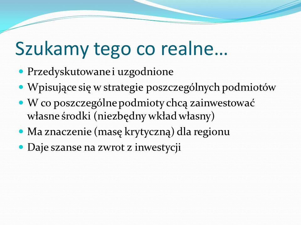 Szukamy tego co realne… Przedyskutowane i uzgodnione Wpisujące się w strategie poszczególnych podmiotów W co poszczególne podmioty chcą zainwestować własne środki (niezbędny wkład własny) Ma znaczenie (masę krytyczną) dla regionu Daje szanse na zwrot z inwestycji