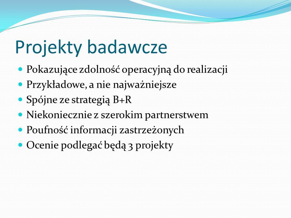 Projekty badawcze Pokazujące zdolność operacyjną do realizacji Przykładowe, a nie najważniejsze Spójne ze strategią B+R Niekoniecznie z szerokim partnerstwem Poufność informacji zastrzeżonych Ocenie podlegać będą 3 projekty