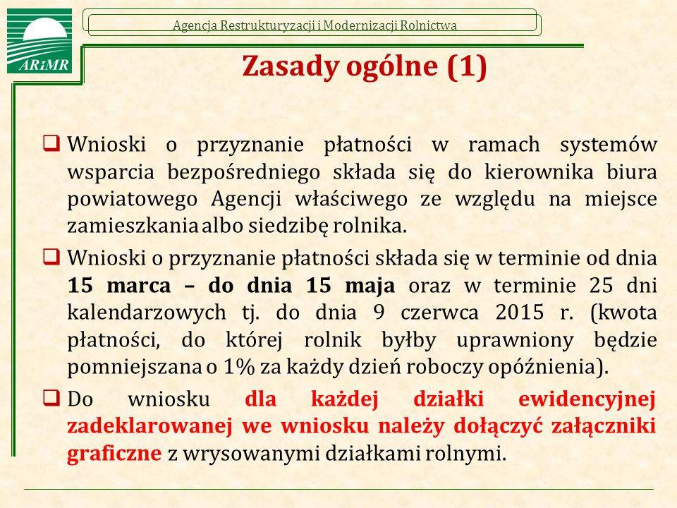 Agencja Restrukturyzacji i Modernizacji Rolnictwa Zasady ogólne (2)  Rolnicy, którzy ubiegali się o płatności bezpośrednie w roku 2014 otrzymają do dnia 15 marca 2015 r.