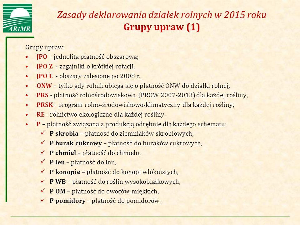 Agencja Restrukturyzacji i Modernizacji Rolnictwa Zasady deklarowania działek rolnych w 2015 roku Grupy upraw (1) Grupy upraw: JPO – jednolita płatnoś