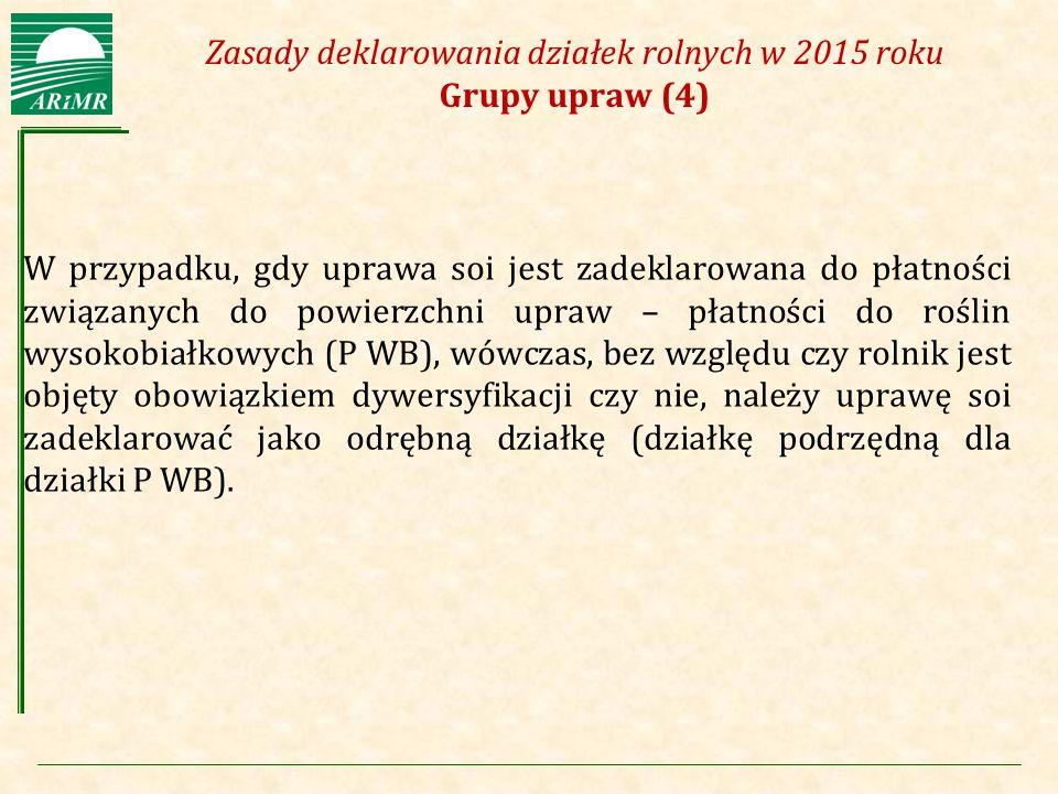 Agencja Restrukturyzacji i Modernizacji Rolnictwa Zasady deklarowania działek rolnych w 2015 roku Grupy upraw (4) W przypadku, gdy uprawa soi jest zad