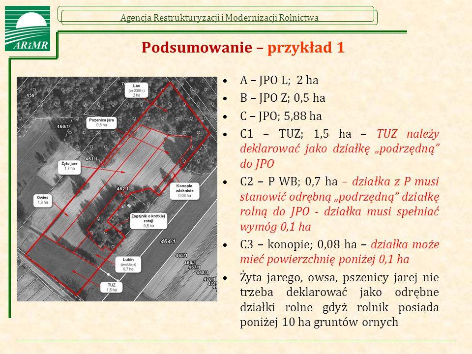 Agencja Restrukturyzacji i Modernizacji Rolnictwa Podsumowanie – przykład 1 A – JPO L; 2 ha B – JPO Z; 0,5 ha C – JPO; 5,88 ha C1 – TUZ; 1,5 ha – TUZ