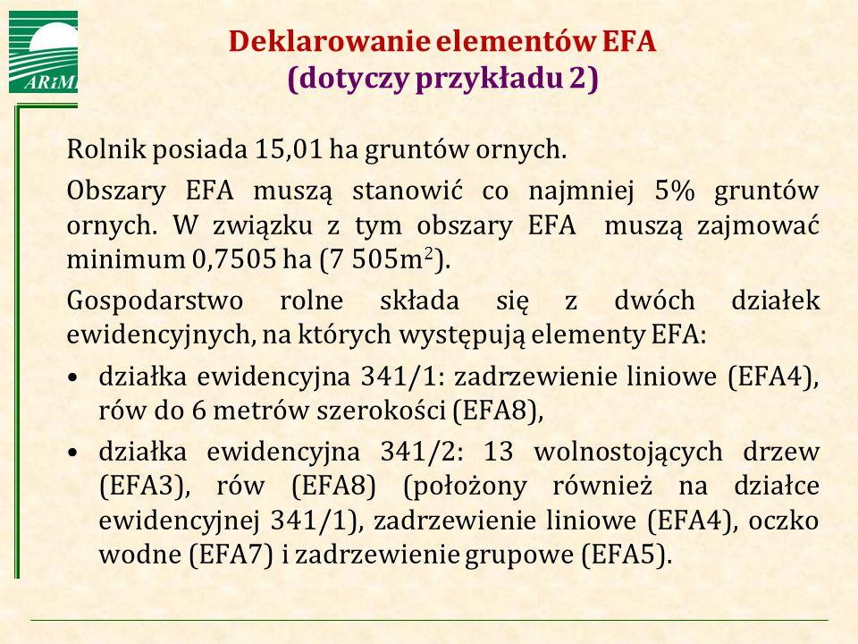 Agencja Restrukturyzacji i Modernizacji Rolnictwa Deklarowanie elementów EFA (dotyczy przykładu 2) Rolnik posiada 15,01 ha gruntów ornych. Obszary EFA