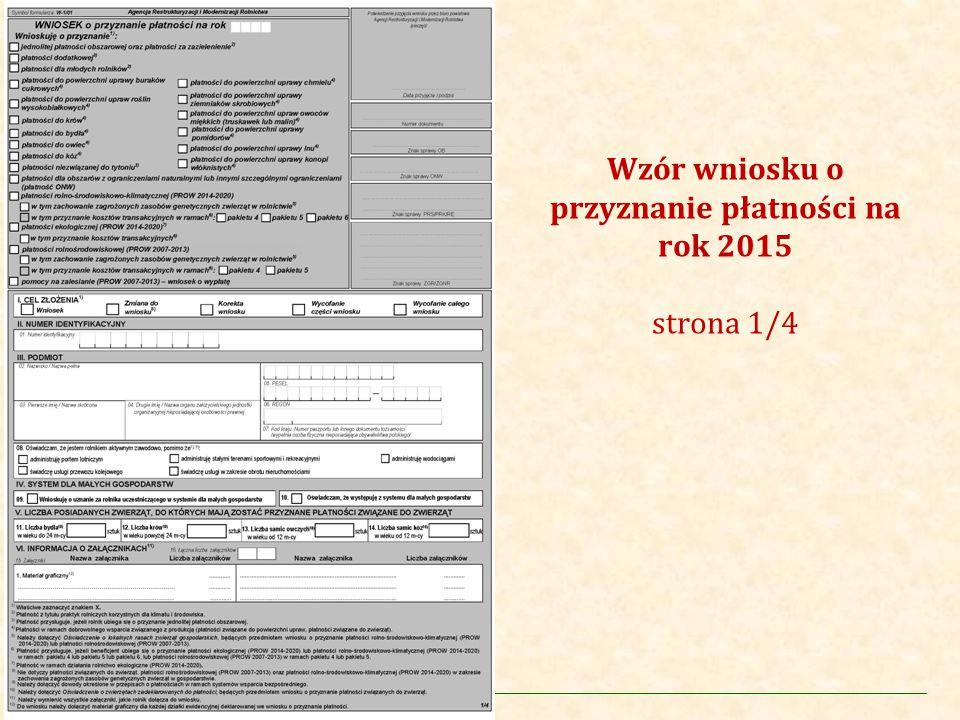 Agencja Restrukturyzacji i Modernizacji Rolnictwa Wzór Wniosku o przyznanie płatności na rok 2015 Sekcja VIII.