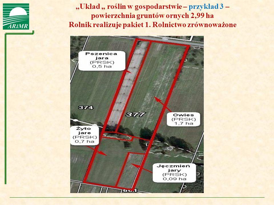 """Agencja Restrukturyzacji i Modernizacji Rolnictwa """"Układ """" roślin w gospodarstwie – przykład 3 – powierzchnia gruntów ornych 2,99 ha Rolnik realizuje"""