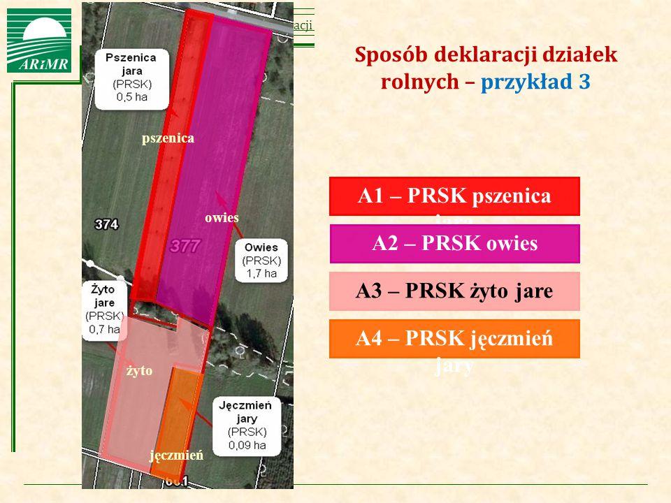 Agencja Restrukturyzacji i Modernizacji Rolnictwa owies A1 – PRSK pszenica jara A2 – PRSK owies A3 – PRSK żyto jare A4 – PRSK jęczmień jary Sposób dek