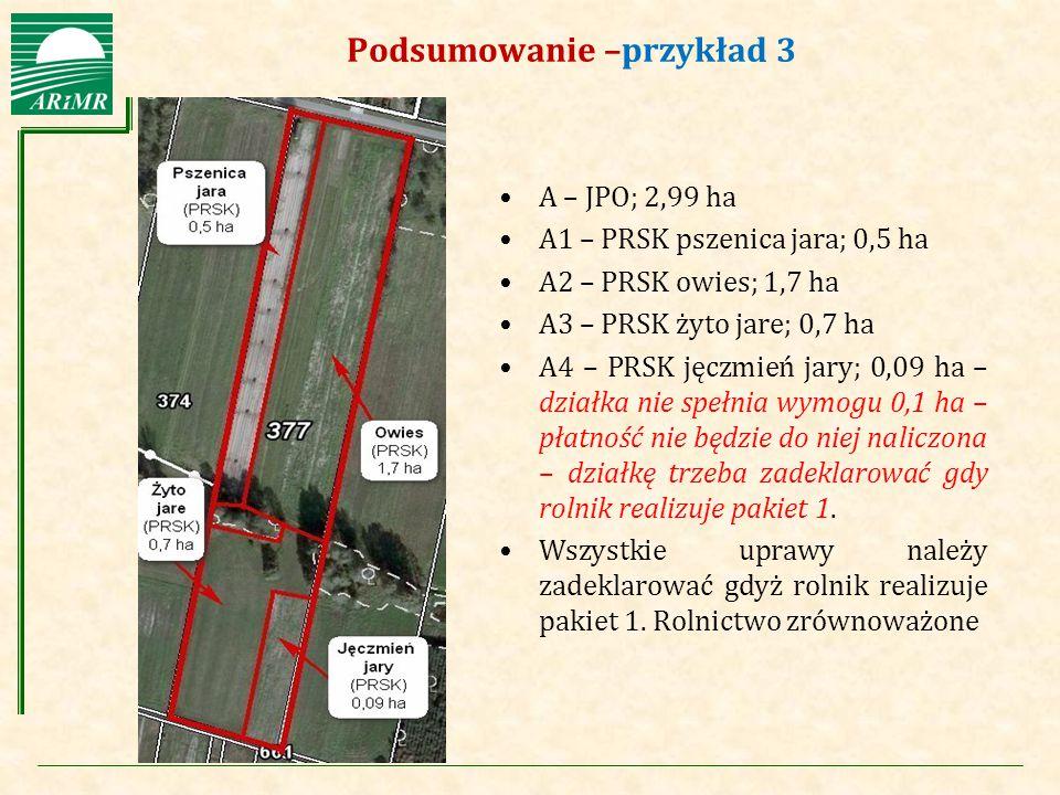 Agencja Restrukturyzacji i Modernizacji Rolnictwa Podsumowanie –przykład 3 A – JPO; 2,99 ha A1 – PRSK pszenica jara; 0,5 ha A2 – PRSK owies; 1,7 ha A3