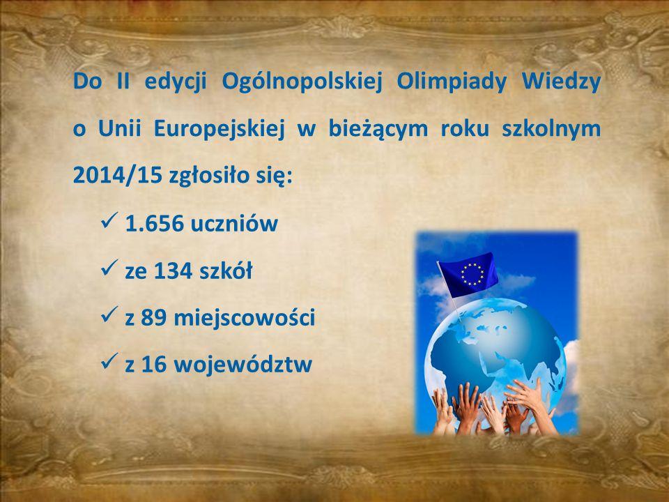 1.656 uczniów ze 134 szkół z 89 miejscowości z 16 województw Do II edycji Ogólnopolskiej Olimpiady Wiedzy o Unii Europejskiej w bieżącym roku szkolnym