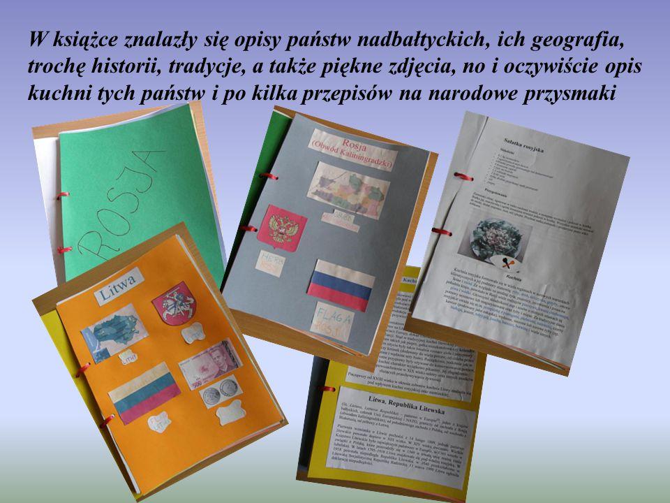 W książce znalazły się opisy państw nadbałtyckich, ich geografia, trochę historii, tradycje, a także piękne zdjęcia, no i oczywiście opis kuchni tych państw i po kilka przepisów na narodowe przysmaki