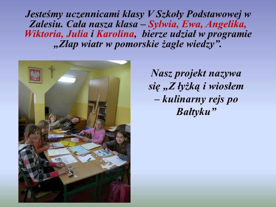Jesteśmy uczennicami klasy V Szkoły Podstawowej w Zalesiu.