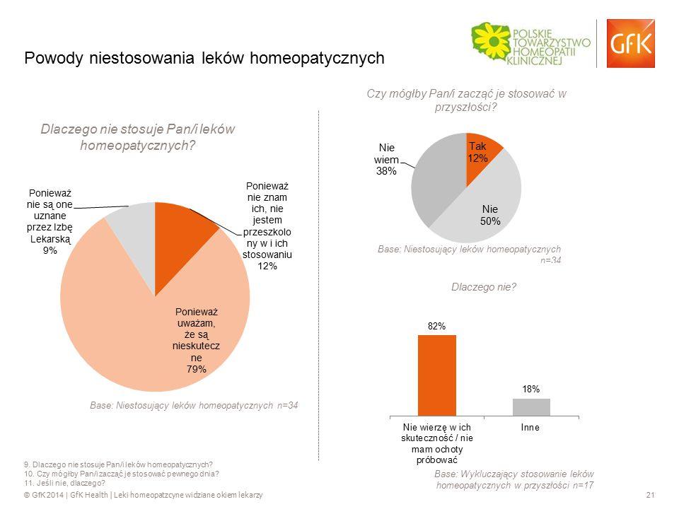 © GfK 2014 | GfK Health | Leki homeopatzcyne widziane okiem lekarzy 21 9. Dlaczego nie stosuje Pan/i leków homeopatycznych? 10. Czy mógłby Pan/i zaczą