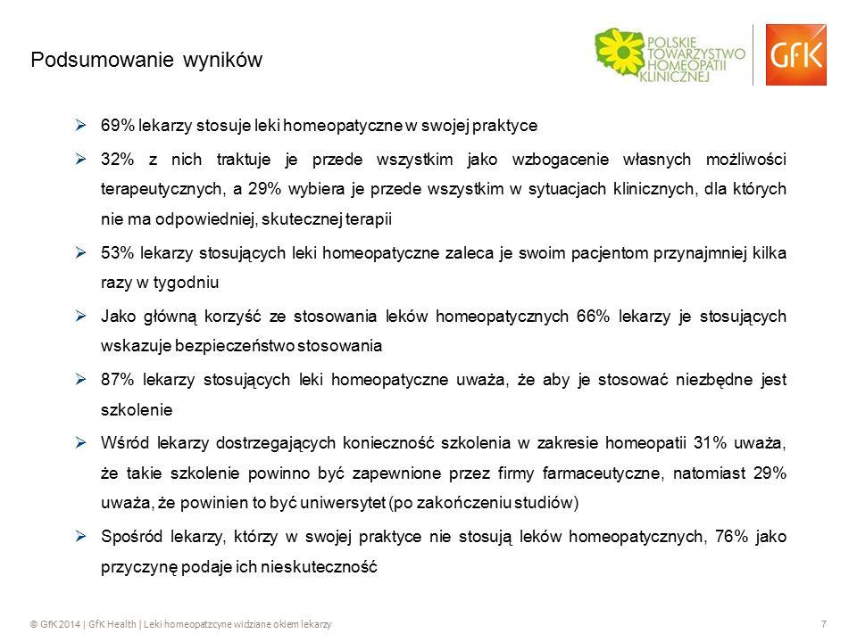 © GfK 2014 | GfK Health | Leki homeopatzcyne widziane okiem lekarzy 7 Podsumowanie wyników  69% lekarzy stosuje leki homeopatyczne w swojej praktyce